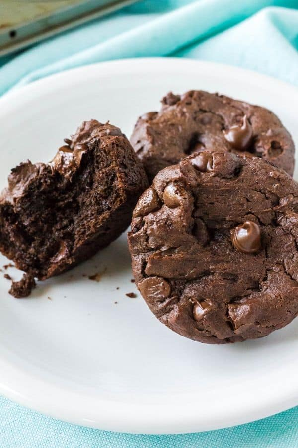 close up view of double chocolate peanut butter muffins made with chocolate chips