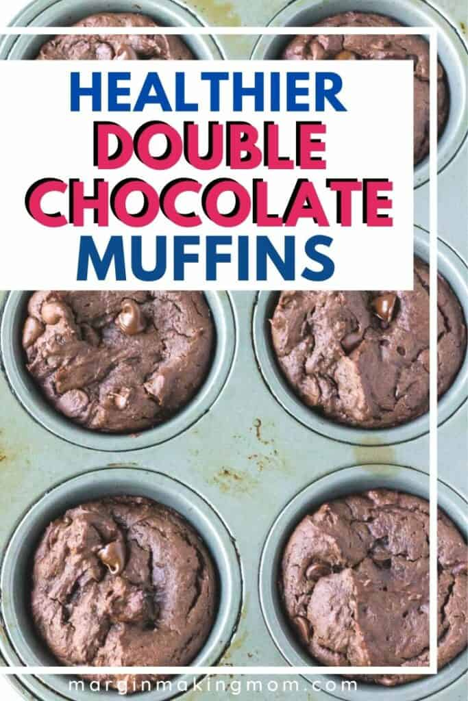 muffin pan filled with healthy chocolate muffins