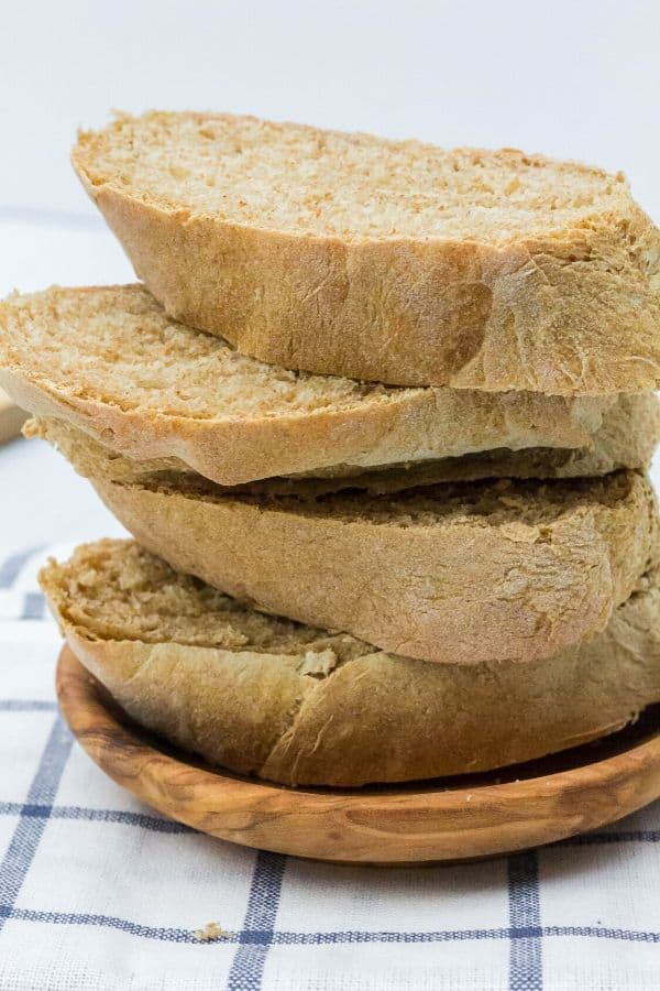 stack of slices of whole wheat french bread