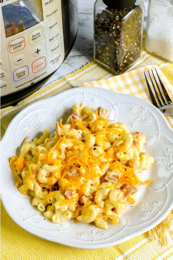 plate of ham and cheese macaroni in front of the Instant Pot