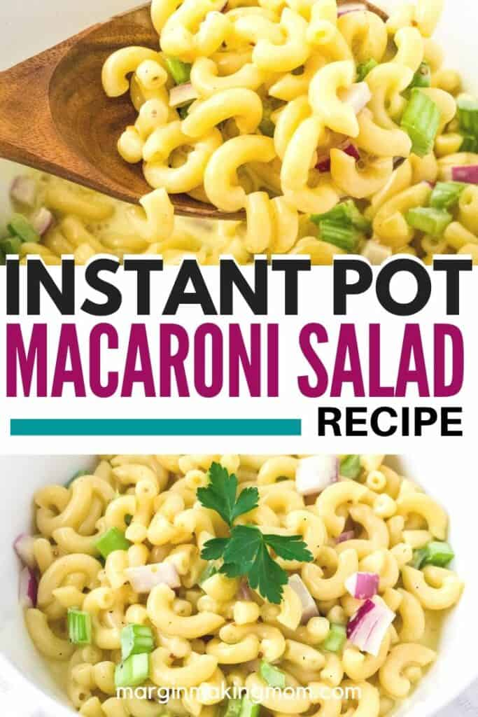 Instant Pot macaroni salad in a white bowl