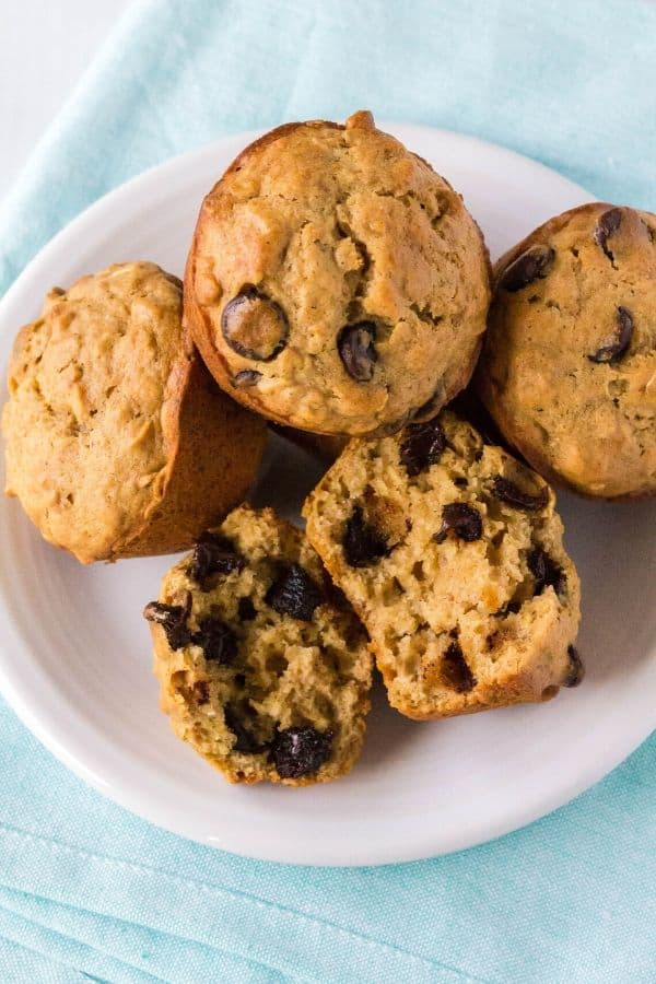 plate of chocolate chip oatmeal muffins