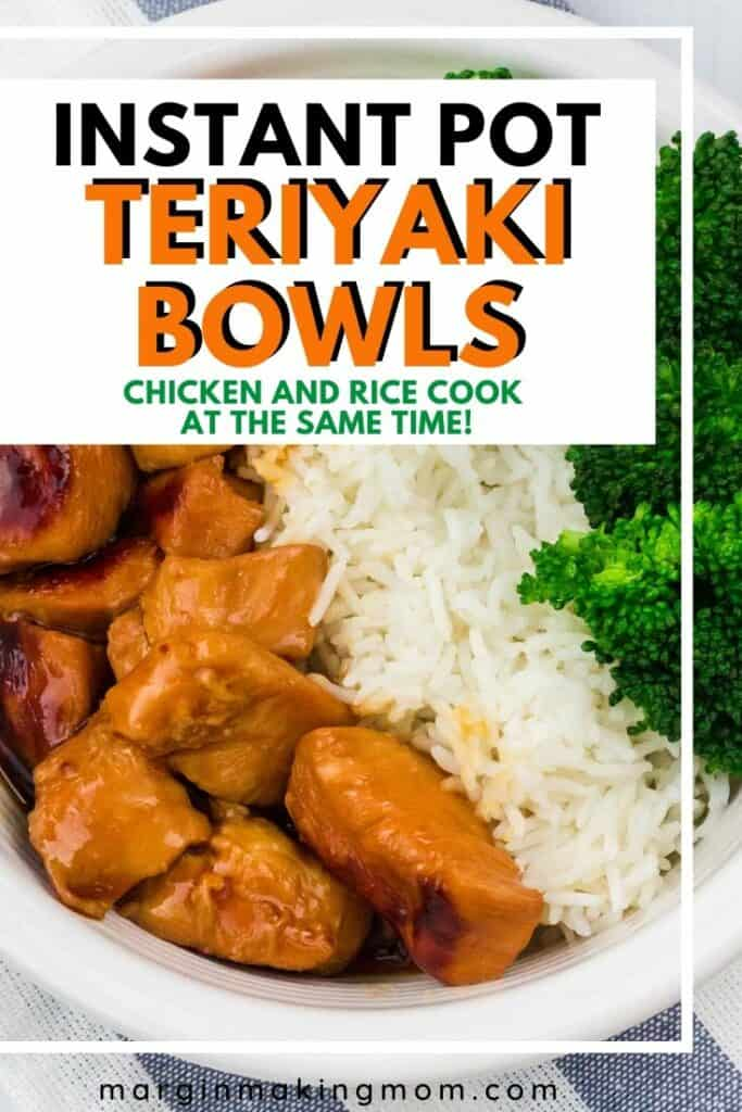 teriyaki chicken bowl with chicien, rice, and broccoli