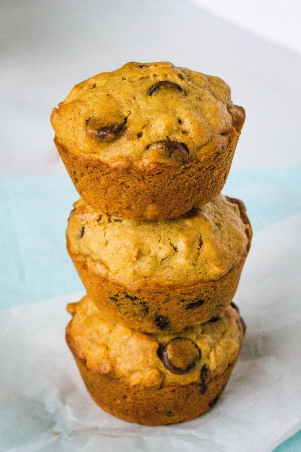 stack of oatmeal chocolate chip muffins