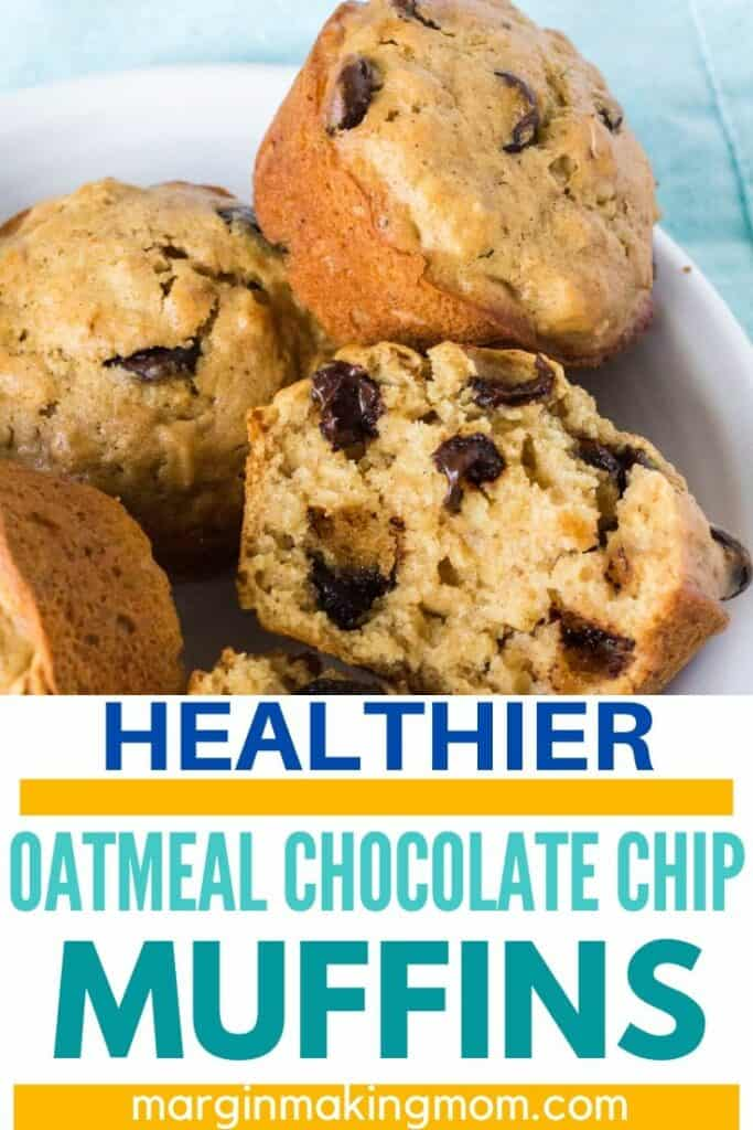 plate of oatmeal chocolate chip muffins
