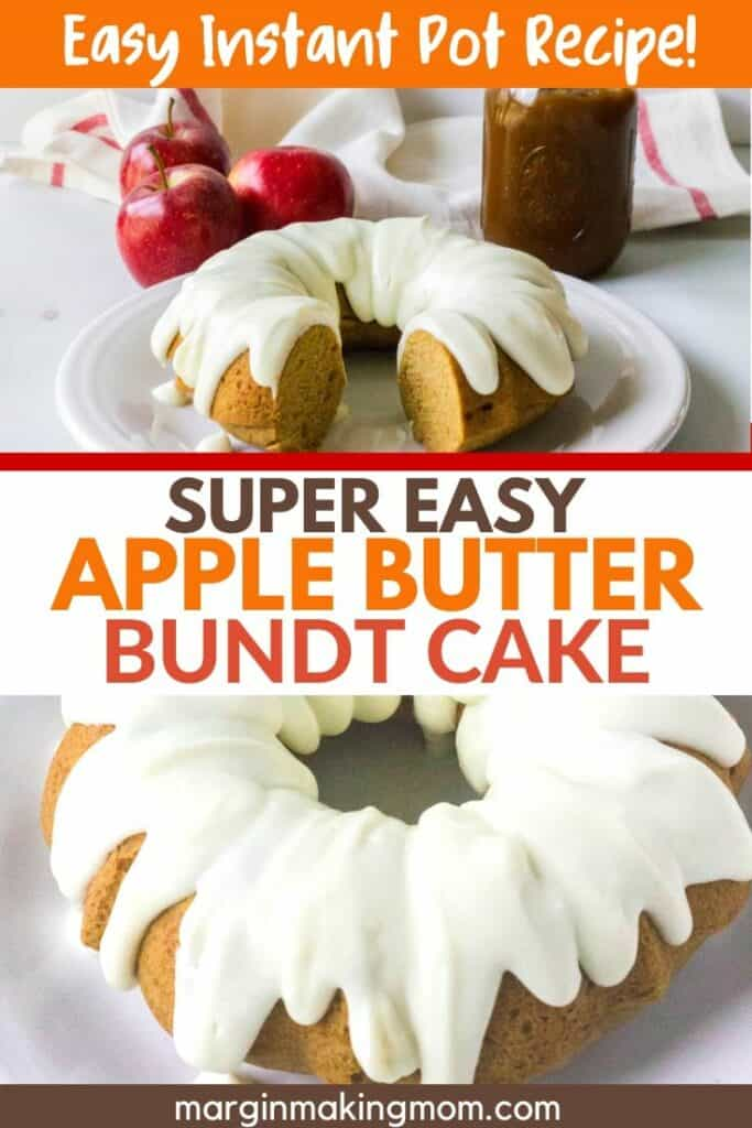 apple butter bundt cake topped with cream cheese frosting