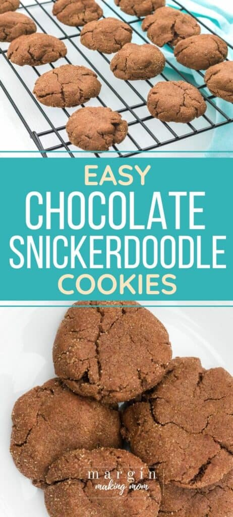 several chocolate snickerdoodle cookies on a white plate and cooling rack