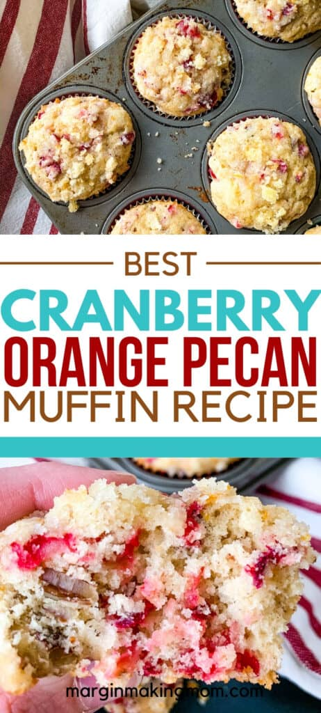 a muffin pan filled with streusel-topped cranberry orange pecan muffins