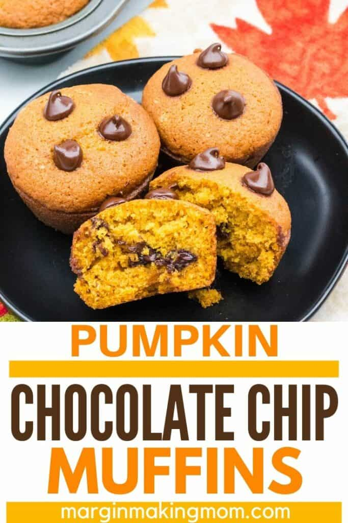 black plate with pumpkin chocolate chip muffins on it