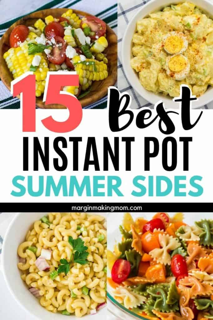 collage image of different Instant Pot side dishes for a BBQ