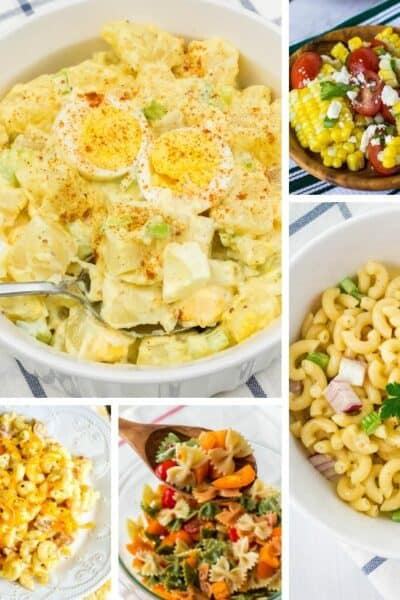 collage image of five different Instant Pot side dishes that could be served at a summer BBQ