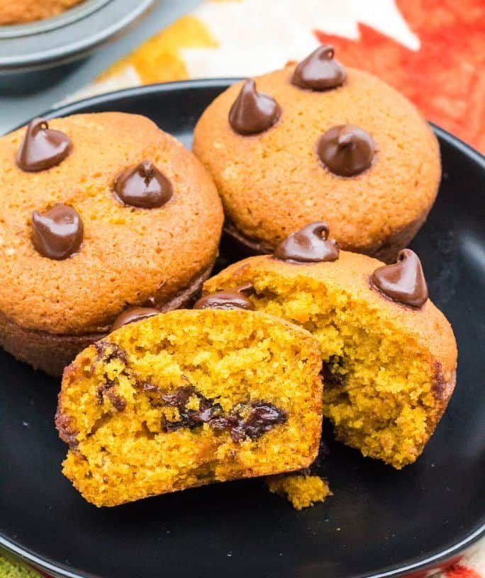 plate full of pumpkin muffins with chocolate chips