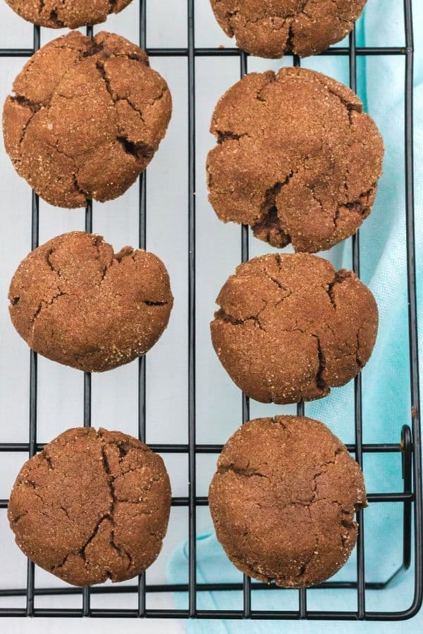 cooling rack with chocolate snickerdoodles on it