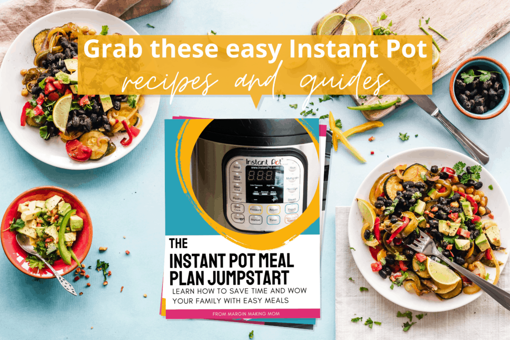 mockup of the cover of the Instant Pot Meal Plan Jumpstart on a table with food