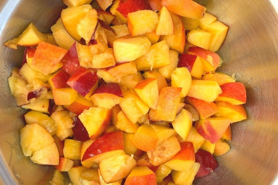 Chopped peaches for making homemade peach jam in the Instant Pot