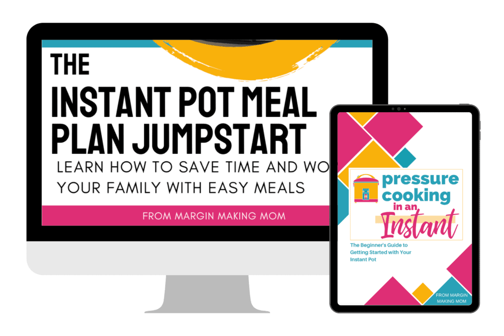 digital mockups on screen of Instant Pot jumpstart and Pressure Cooking in an Instant