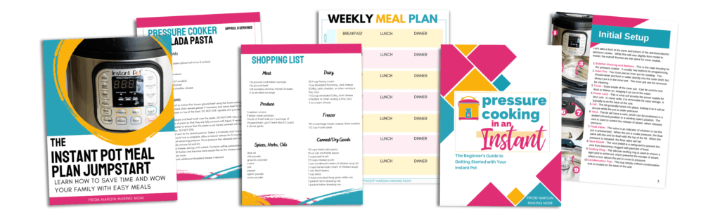mockups of the pages of instant pot meal plan jumpstart