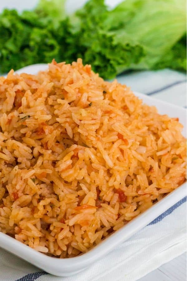 a plate full of Spanish rice ready to be served