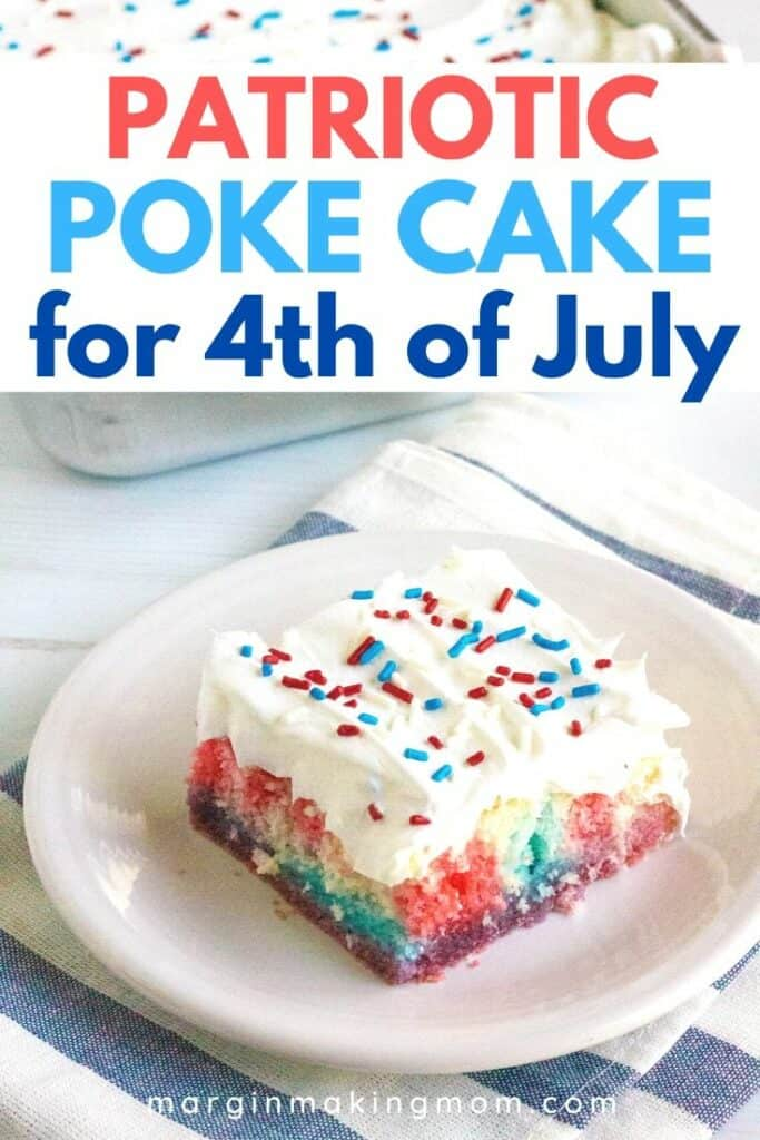 slice of red, white, and blue poke cake on a white plate