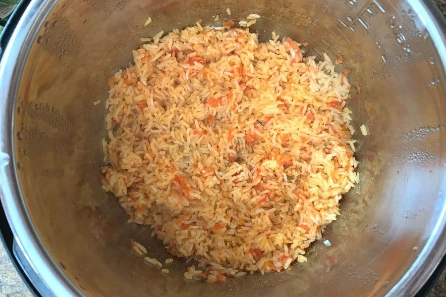 freshly cooked Spanish rice in the Instant Pot
