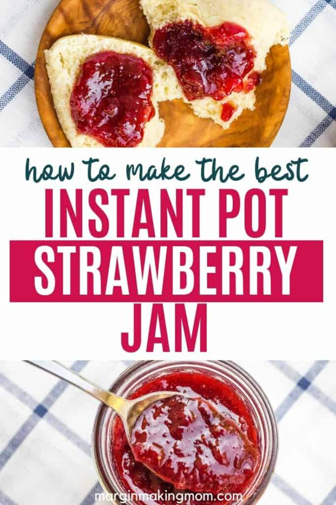 strawberry jam on a dinner roll, with a jar of jam below
