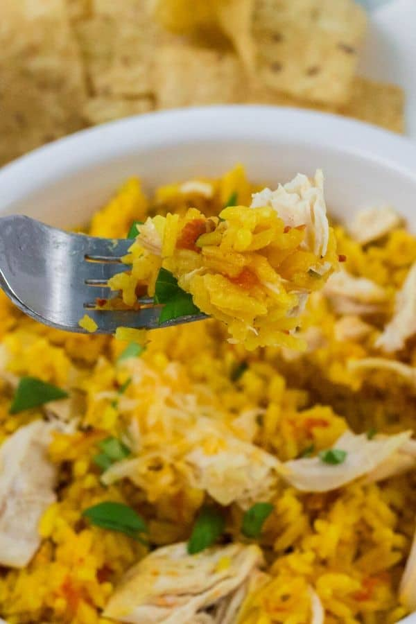 A fork scooping out a bite of pressure cooker arroz con pollo