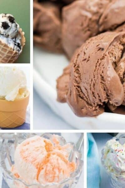 collage image of various no-churn ice creams