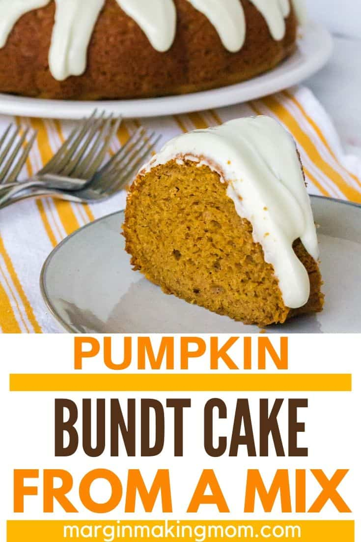 slice of pumpkin spice bundt cake on an ivory plate