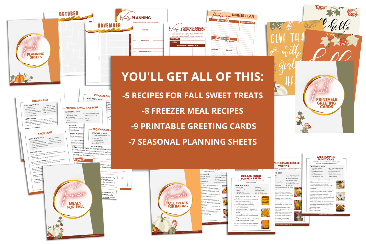mockup of the many pages included in the fall printable bundle