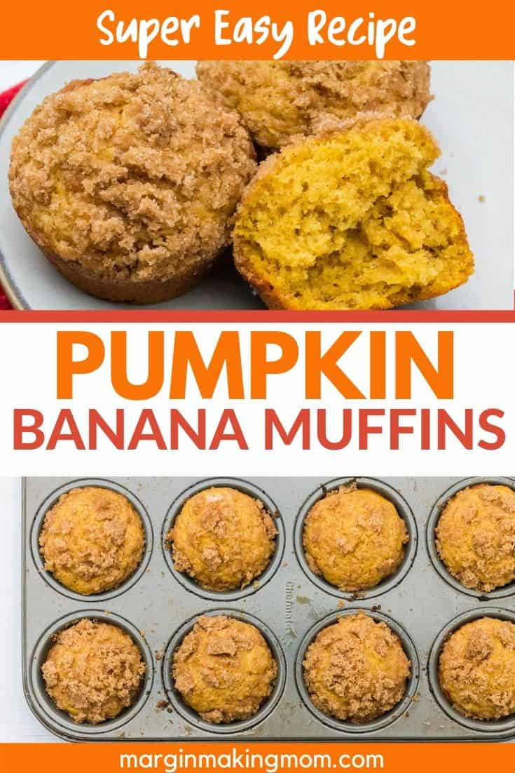 pumpkin banana muffins topped with streusel on a plate and in the muffin pan