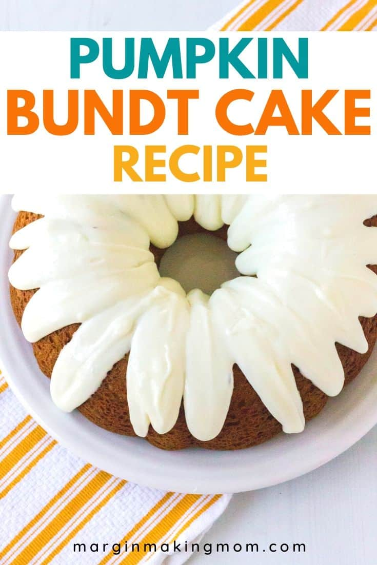 aerial view of a pumpkin spice bundt cake on a white plate