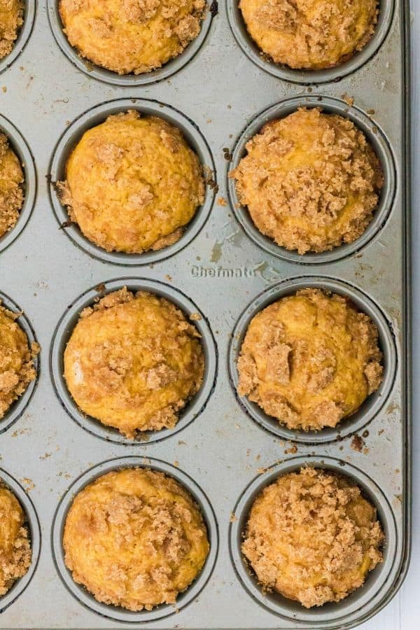 Pumpkin banana muffins freshly baked in a muffin pan