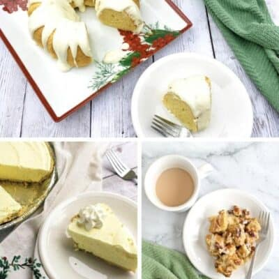 collage image of the best eggnog dessert recipes, including cake, pie, and bread pudding