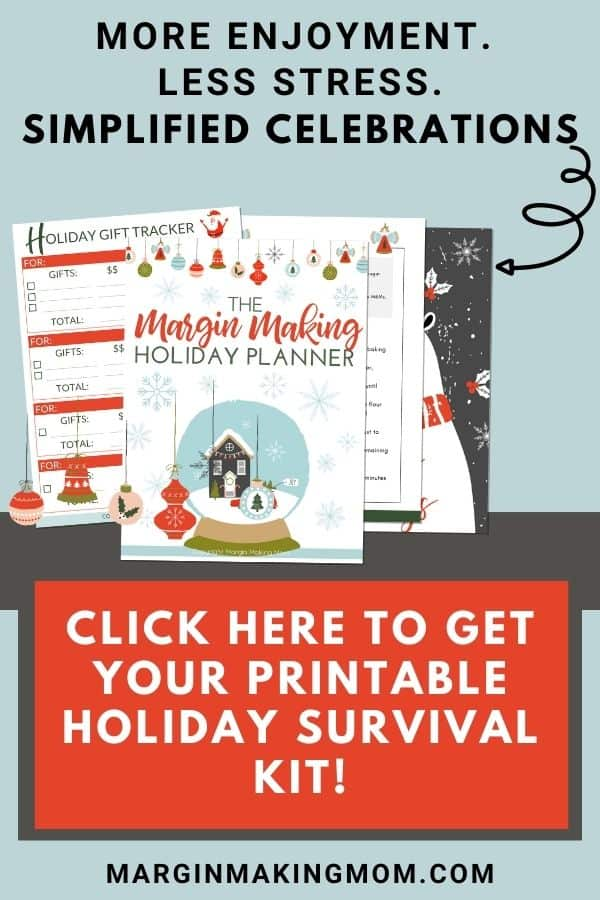 sample pages of the Margin Making Mom holiday planner