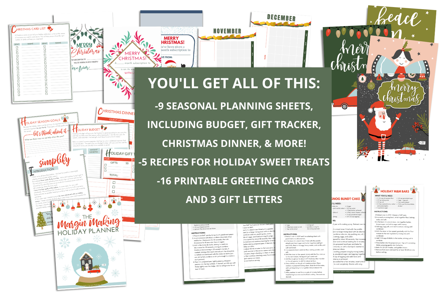 sample pages from the Margin Making Holiday Planner