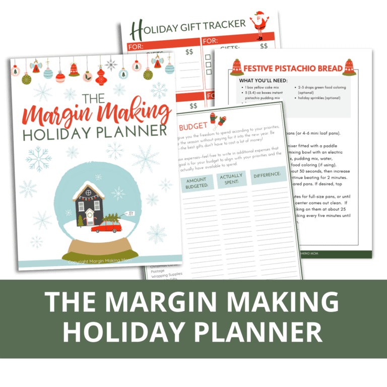 mockup of pages from the Margin Making Holiday Planner