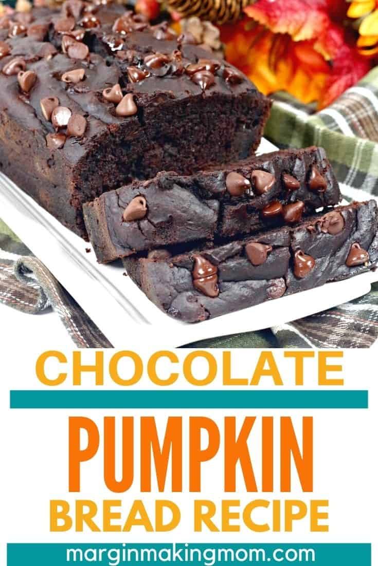 sliced loaf of double chocolate pumpkin bread on a white serving plate