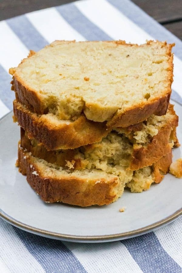 stack of banana pear bread slices on a gray plate