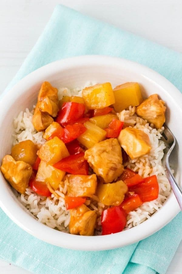 Hawaiian chicken and rice bowl that was cooked in the Instant Pot pressure cooker