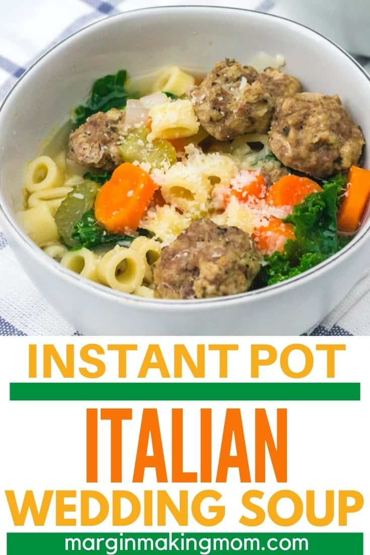 white bowl filled with Italian wedding soup cooked in the pressure cooker with frozen meatballs