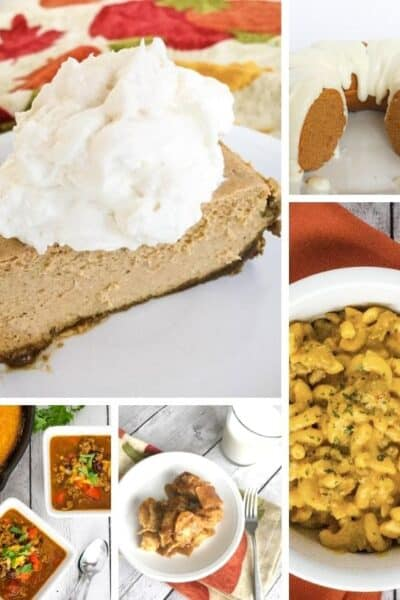 collage image of different pumpkin recipes that can be cooked in the Instant Pot pressure cooker