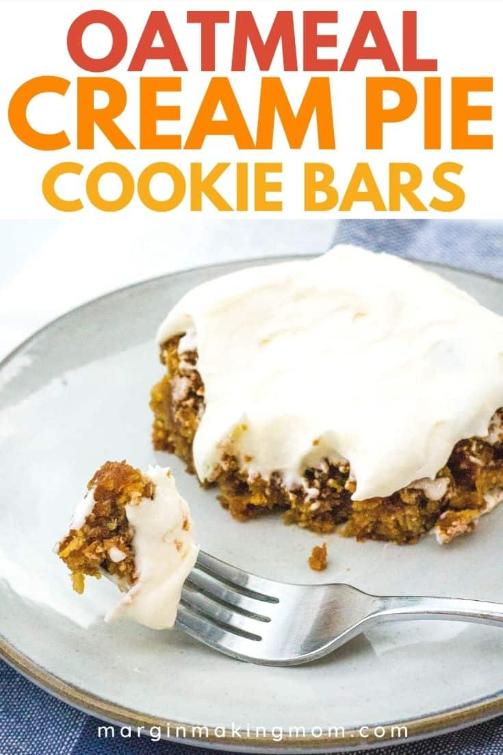 plate with oatmeal cream pie cookie bar on it