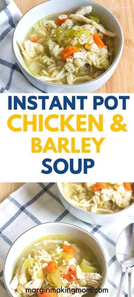 bowls of chicken barley soup that was cooked in the Instant Pot