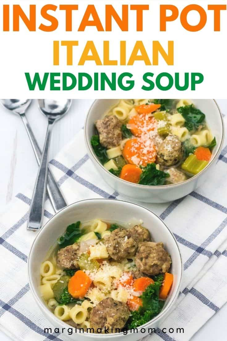 white bowls of Instant Pot Italian wedding soup