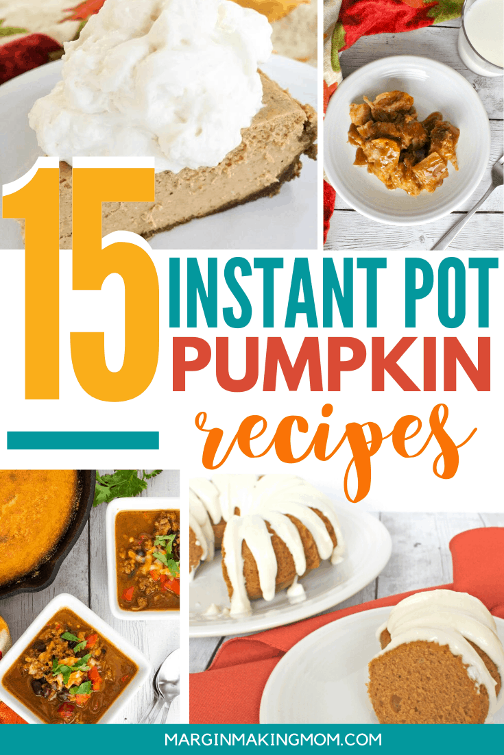 collage image of various Instant Pot pumpkin recipes