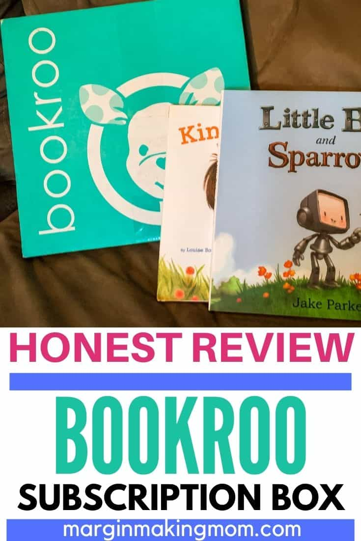 a Bookroo subscription box with two books in front of it