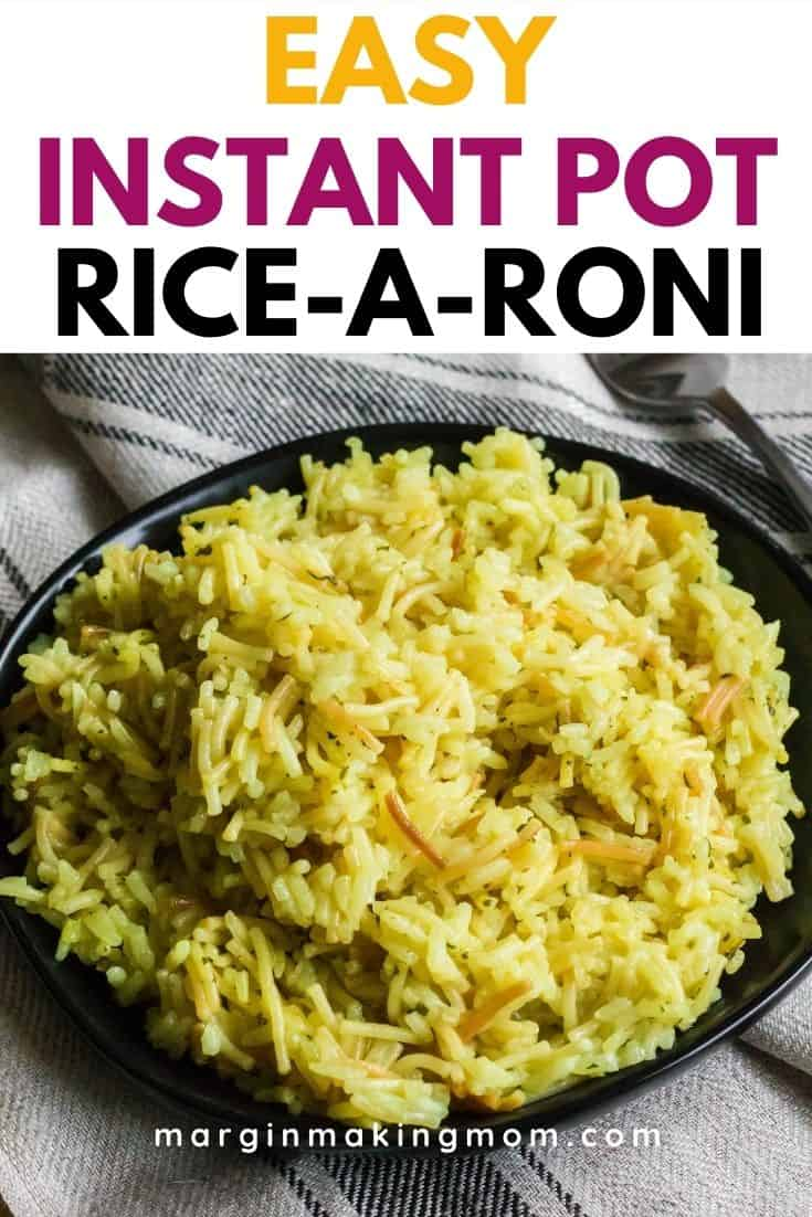 a black plate with Instant Pot Rice-a-Roni heaped on it