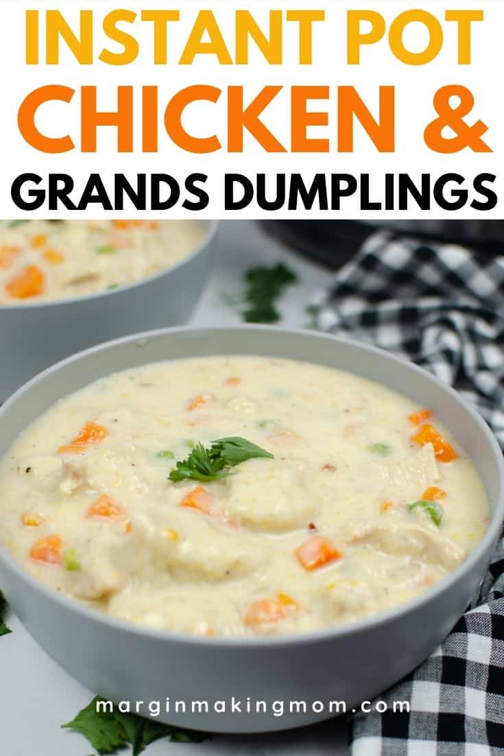 a gray bowl filled with Instant Pot chicken and dumplings made with canned biscuits