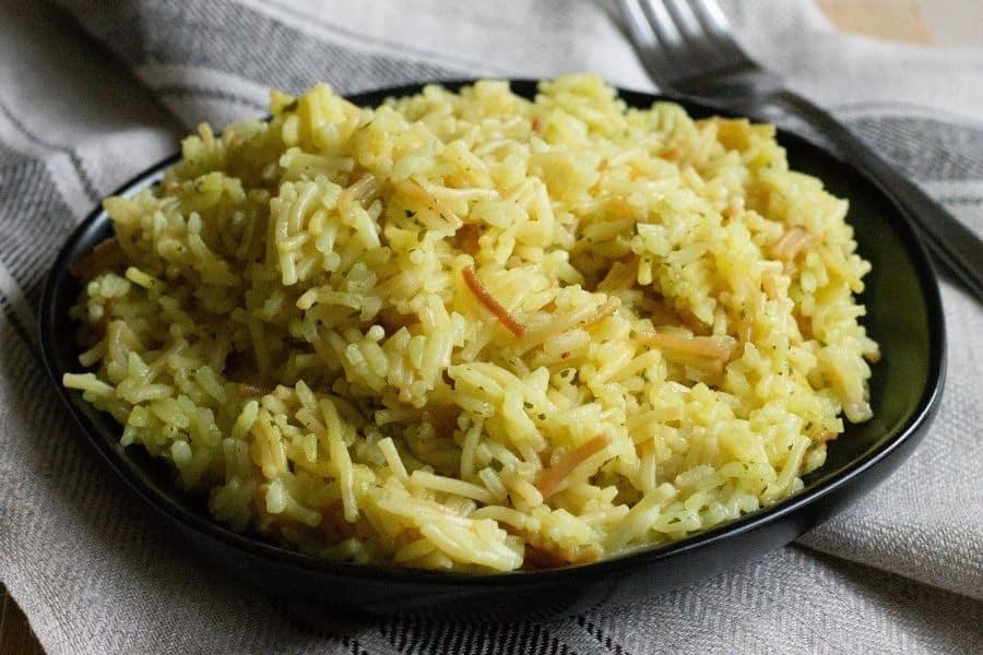 Ninja Foodi Rice a Roni on a black plate