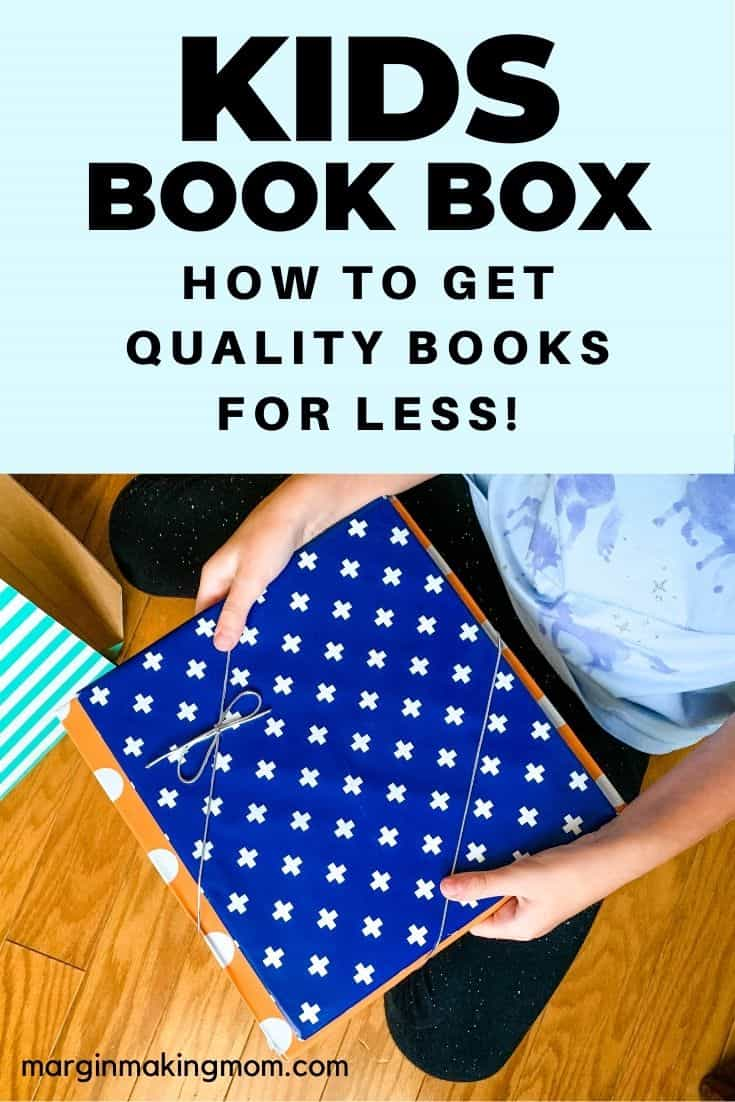 Girl holding two wrapped books from a Bookroo subscription box